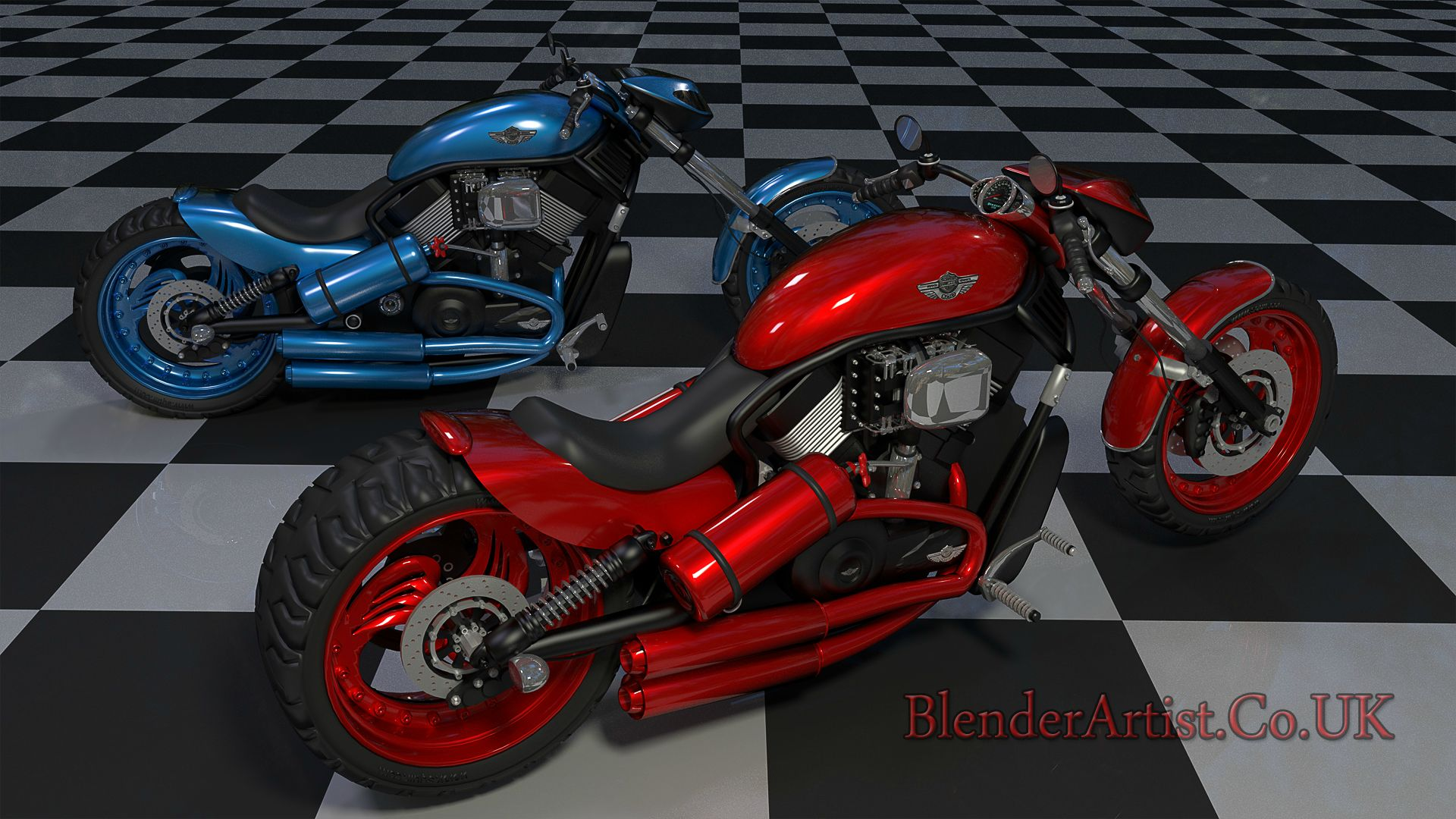 Two Harley Bikes looking good. © BlenderArtist.Co.Uk 2014.