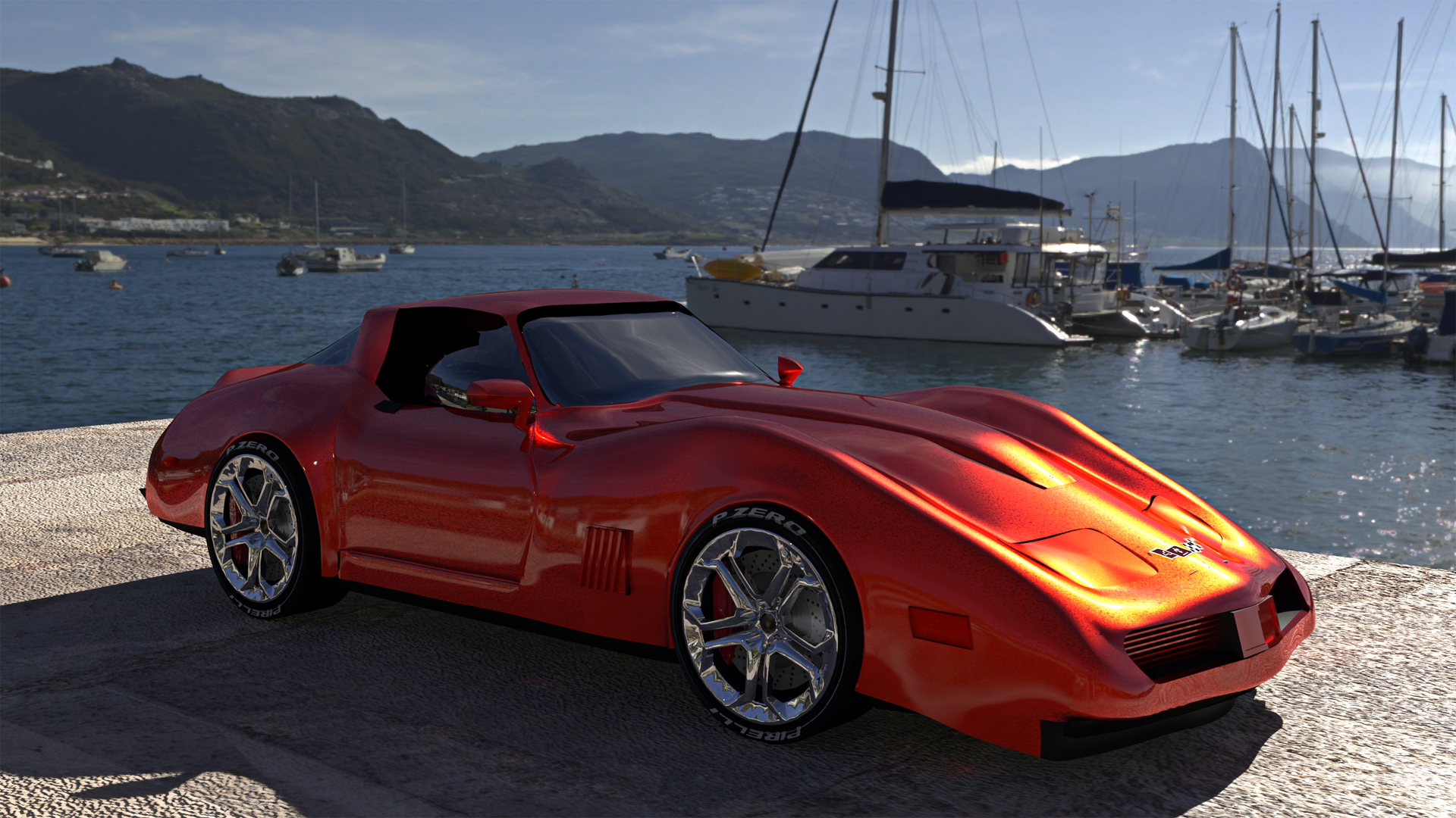 First attempt at modelling the Corvette from some drawings. It can only get better !. Really this helped me to better understand the need for a well thought out topology and how the control points in the mesh with just a little alteration can drastically alter a body shape. Used branched path tracing for rendering. Simonstown HDRI.