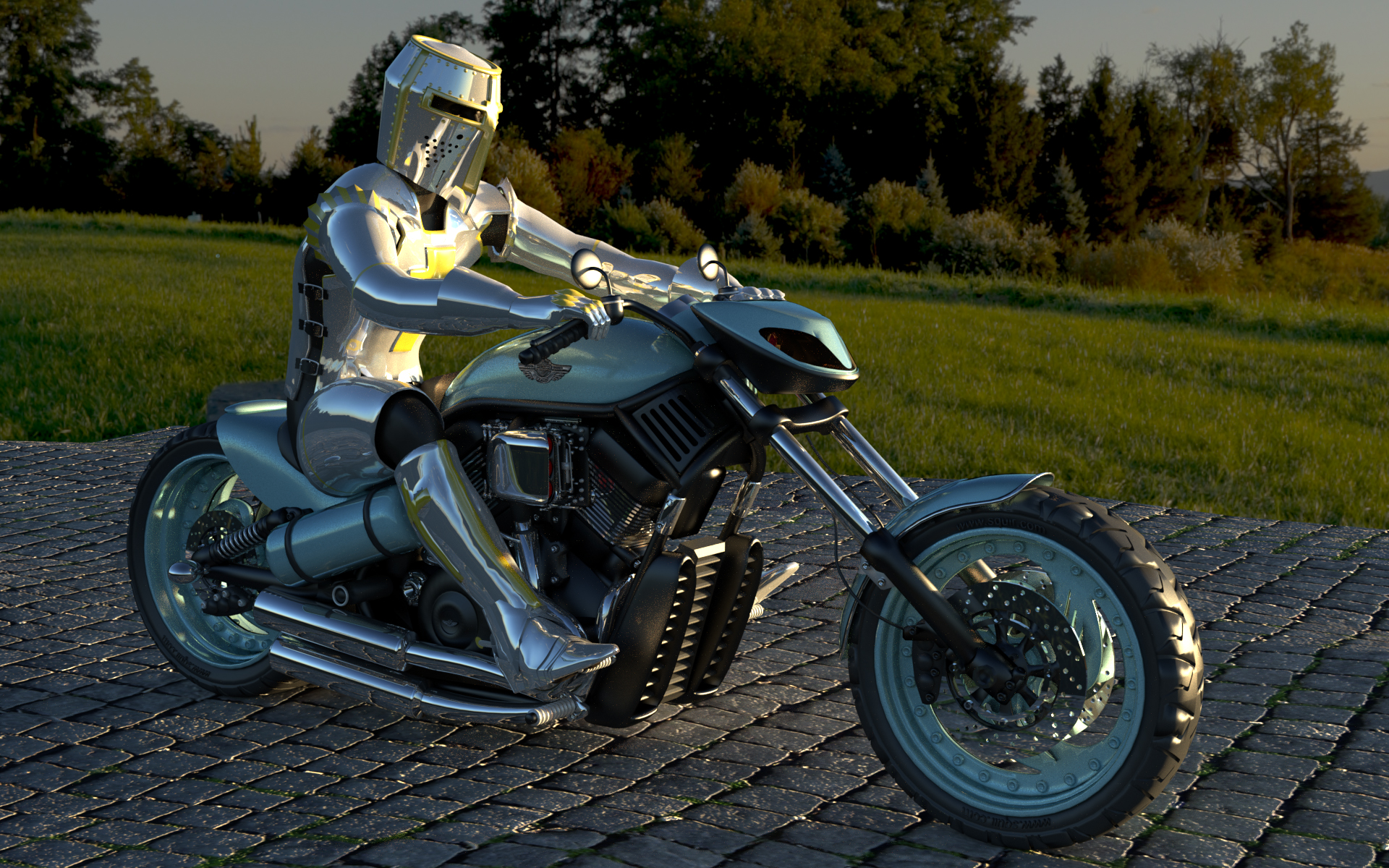 Lot of fun making this image. Good practice in creating smooth/hard edges. The glossy textures and a 10K HDRI makes plenty of noise and even at 5000 samples it's still noisy. More to do on this. Different Knights and bikes to build next.