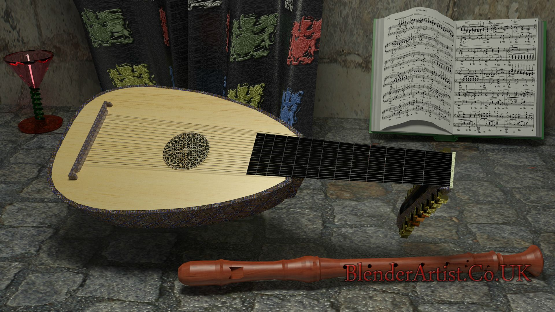Lute And Recorder. © BlenderArtist.Co.Uk 2014.