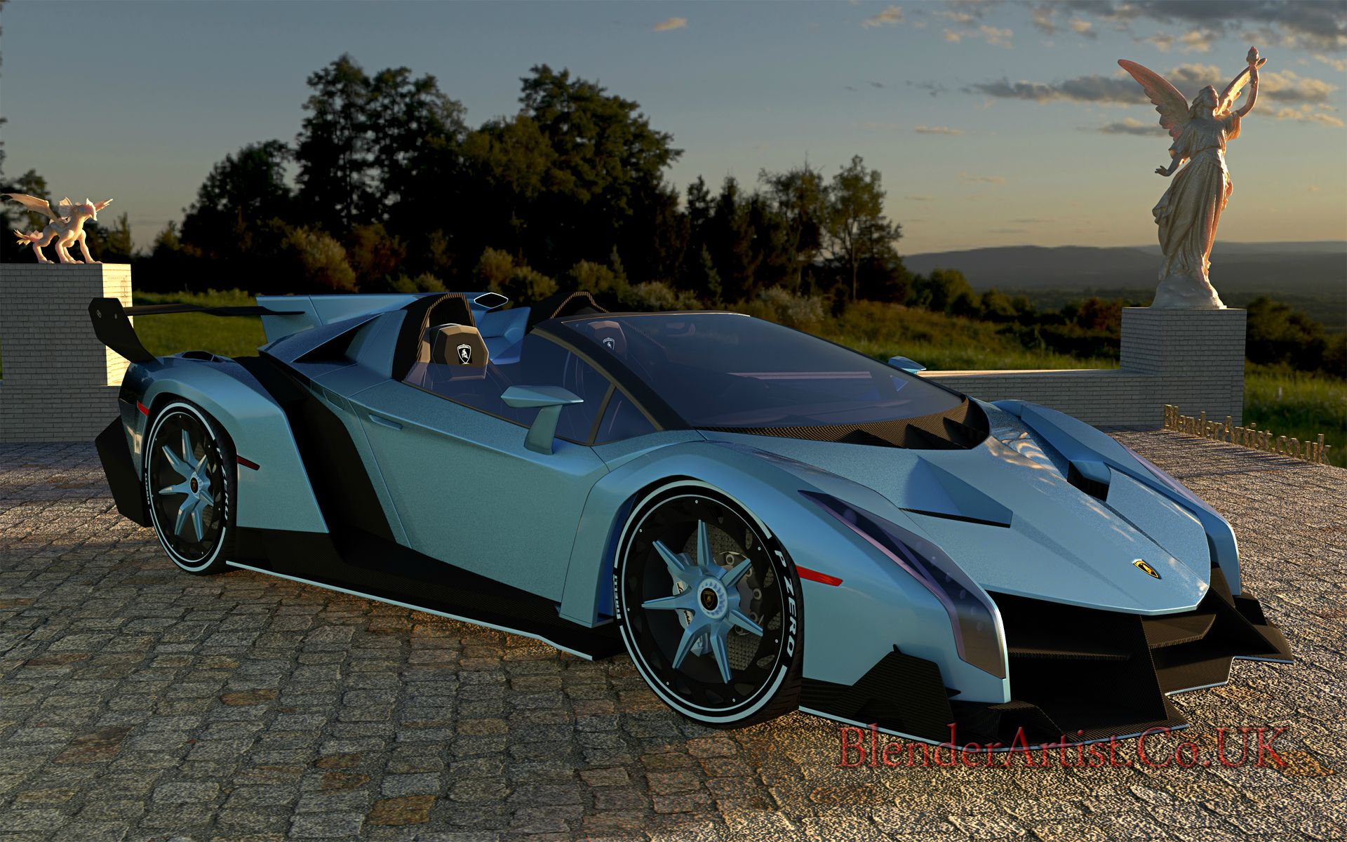 The Veneno is a beautiful looking car. Also a beautiful price. Only 14 were made in 2014 and sold at prices between $4.5M and $7.4M each. It's a permanently open top. You love it or loathe it.  © BlenderArtist.Co.Uk 2014.