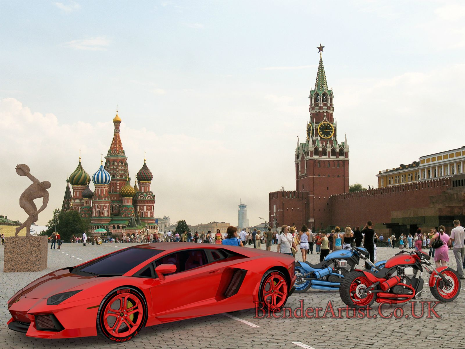 Various Models In Red Square. © BlenderArtist.Co.Uk 2014.
