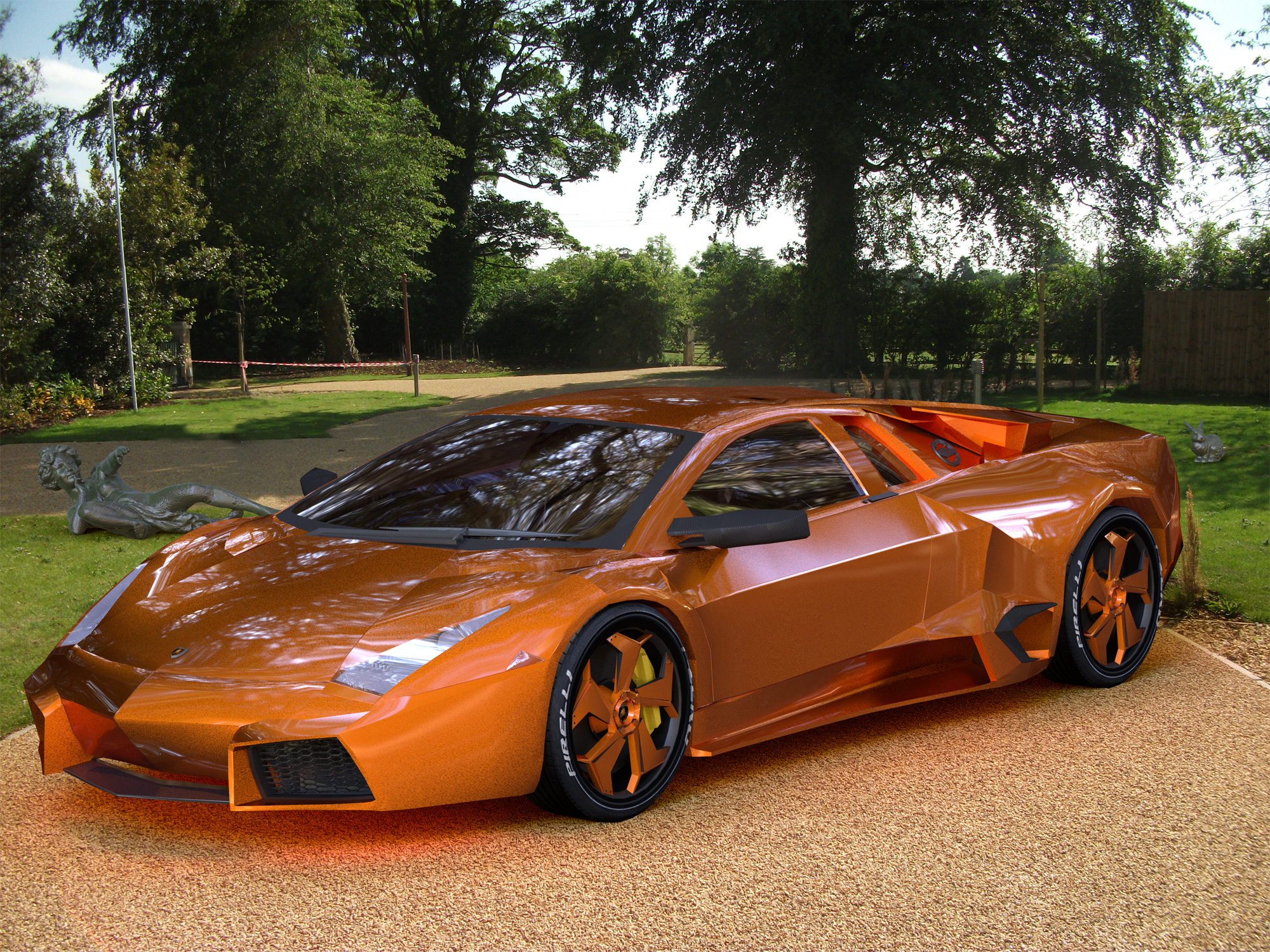 This Reventon has the McLaren Orange body colour.The back plate is a .jpg from a company selling driveways who will be using this render in promotional material.