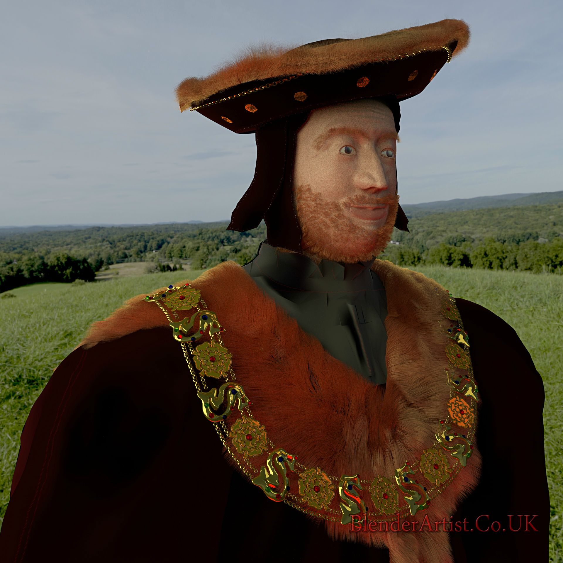 The man who was for all seasons. The jewelled collar denoted his office. A staunch Catholic who refused to acknowledge the tyrant Henry VIII as his supreme spiritual leader. He was later beheaded for this.  © BlenderArtist.Co.Uk 2015
