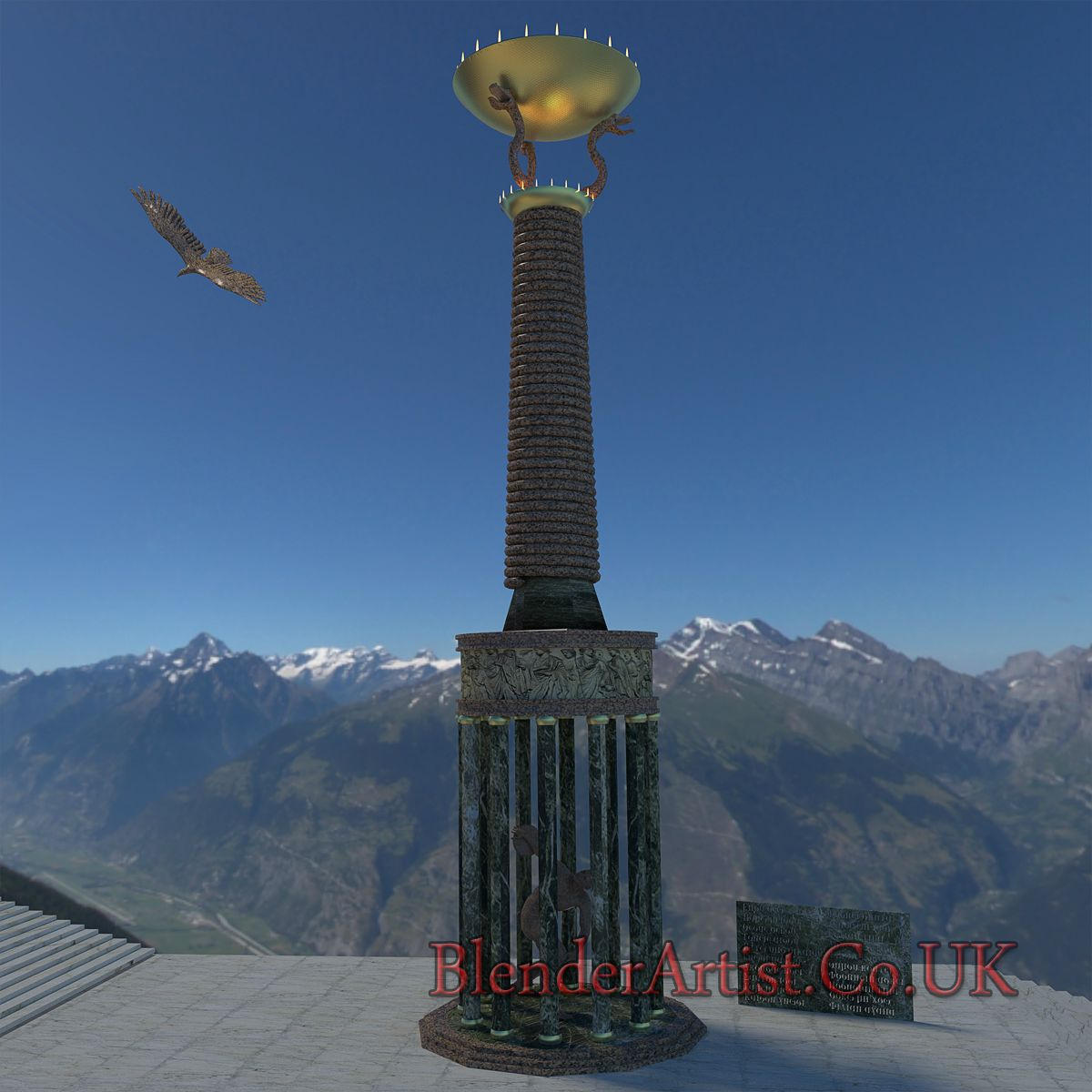 The Snake Column At Delphi 400 B.C. © BlenderArtist.Co.Uk 2014.