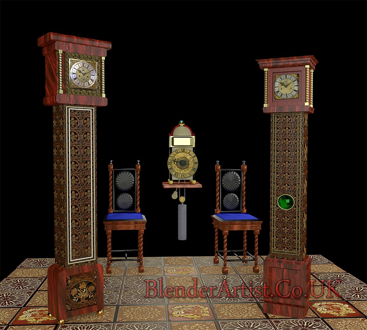 Two Tompion Style Longcase Clocks and a Lantern CLock. © BlenderArtist.Co.Uk 2014.