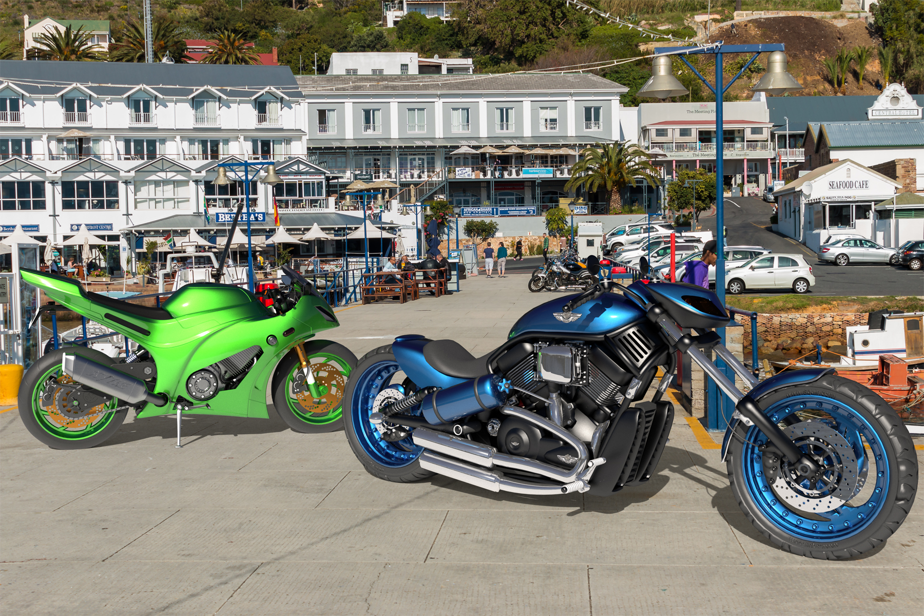 One of the bikes is my favourite Harley and it looks great in this blue paint job. The other is the result of a tutorial and it is in Kawasaki Green.